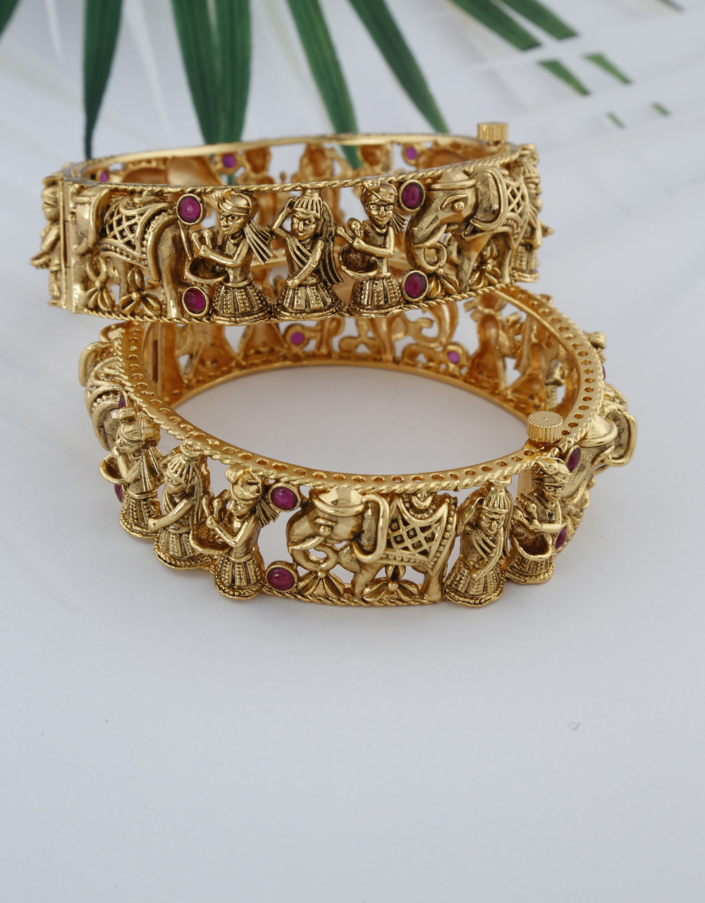 Ethnic design with matte gold design crafted bangles for women