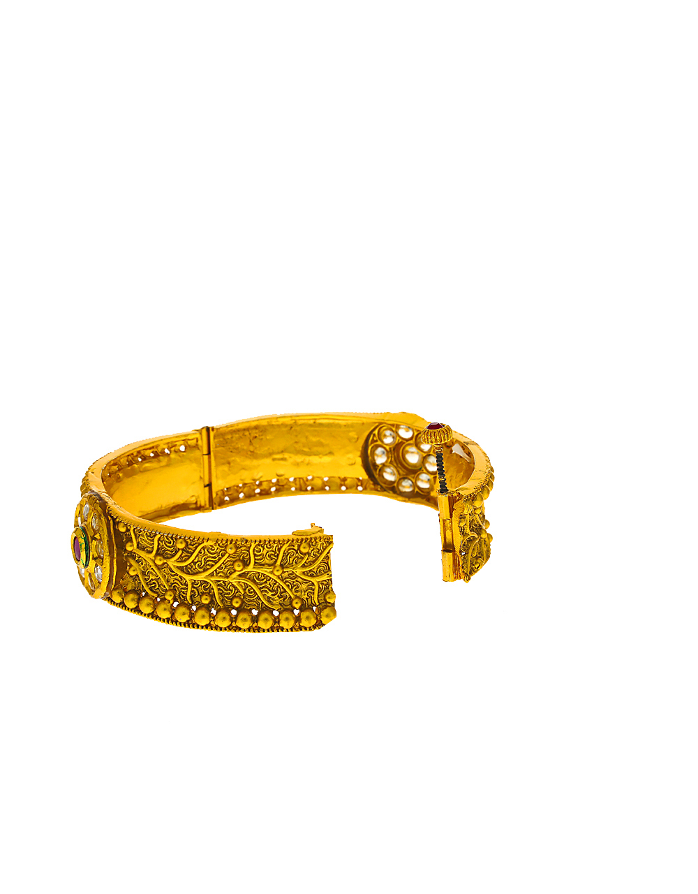 Floral designer studded with pink stone in centre of design bangles for women