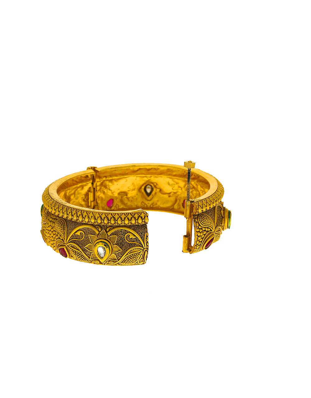Traditional designer bangles decked with red stones  with matte gold finishing for women