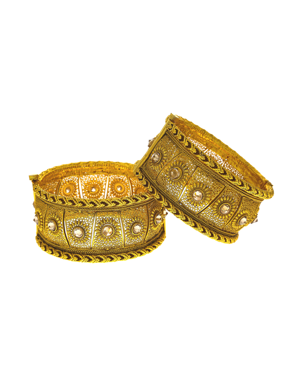 Floral designer bangles decked with delicate LCT stone in centre of design bangles for women