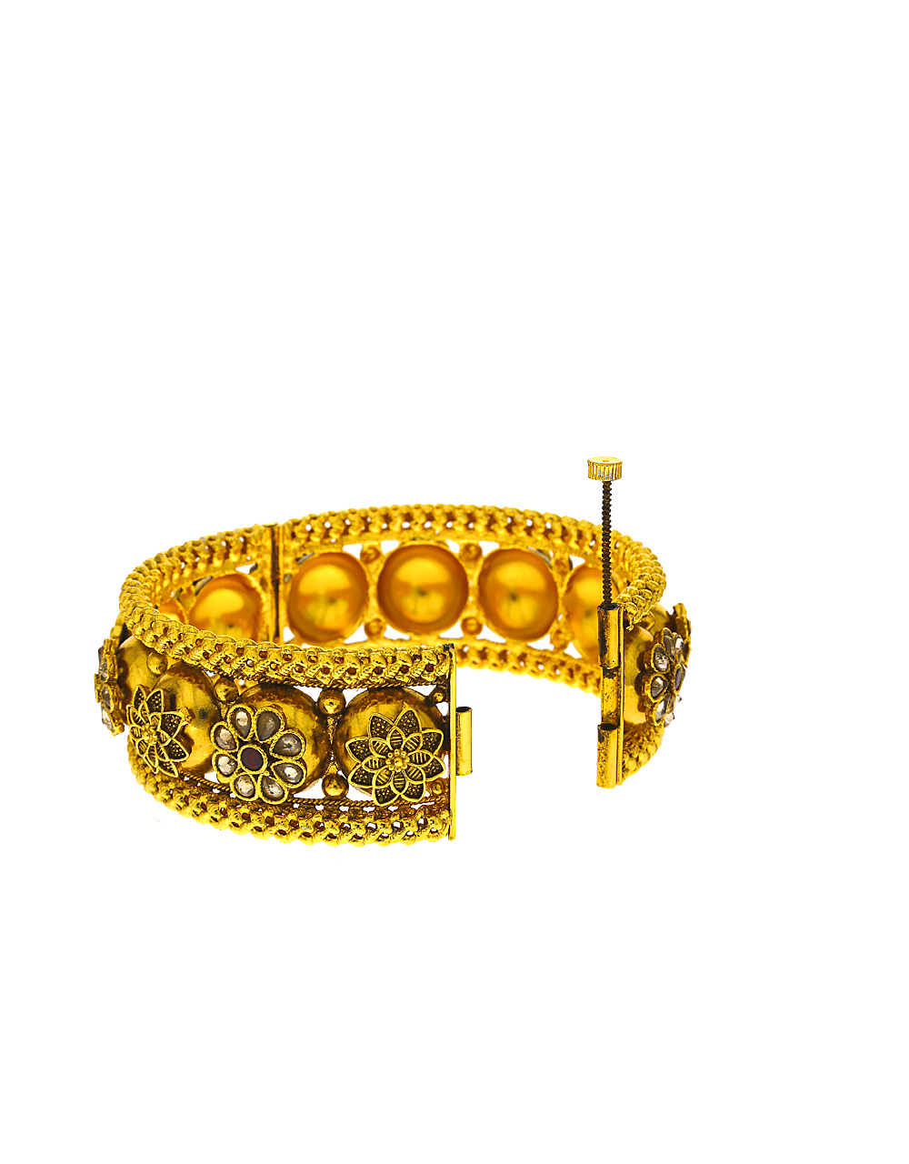 Antique designer bangle studded with LCT stone for women