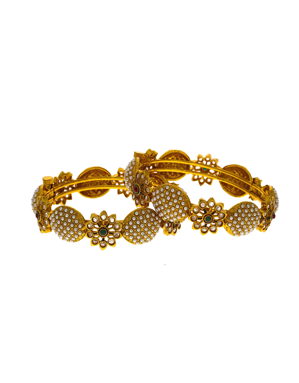 Foral designer studded with tiny delicate pearl bangles for women