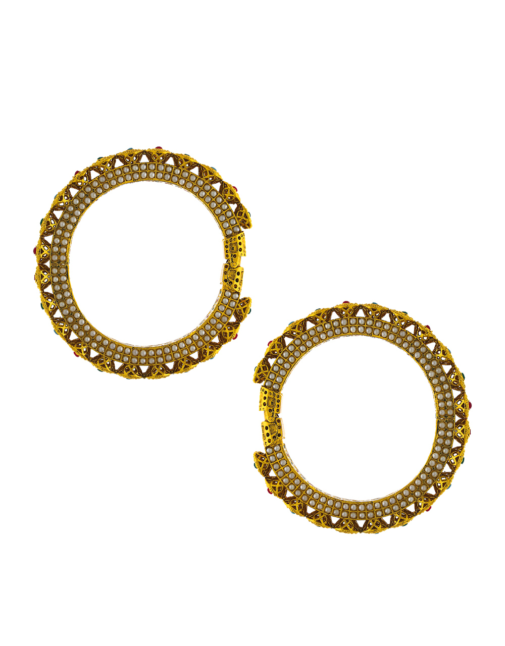 Round shape designer decked with multi-colour stone in centre of design bangles for women