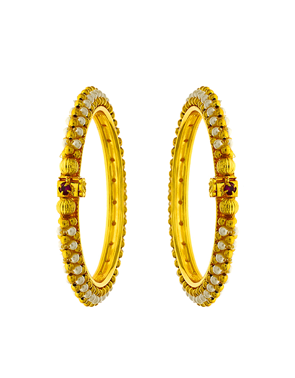Fancy Designer Bangles Decked With Delicate Tiny Pearl And Studded With Pink Stone Bangles For Women