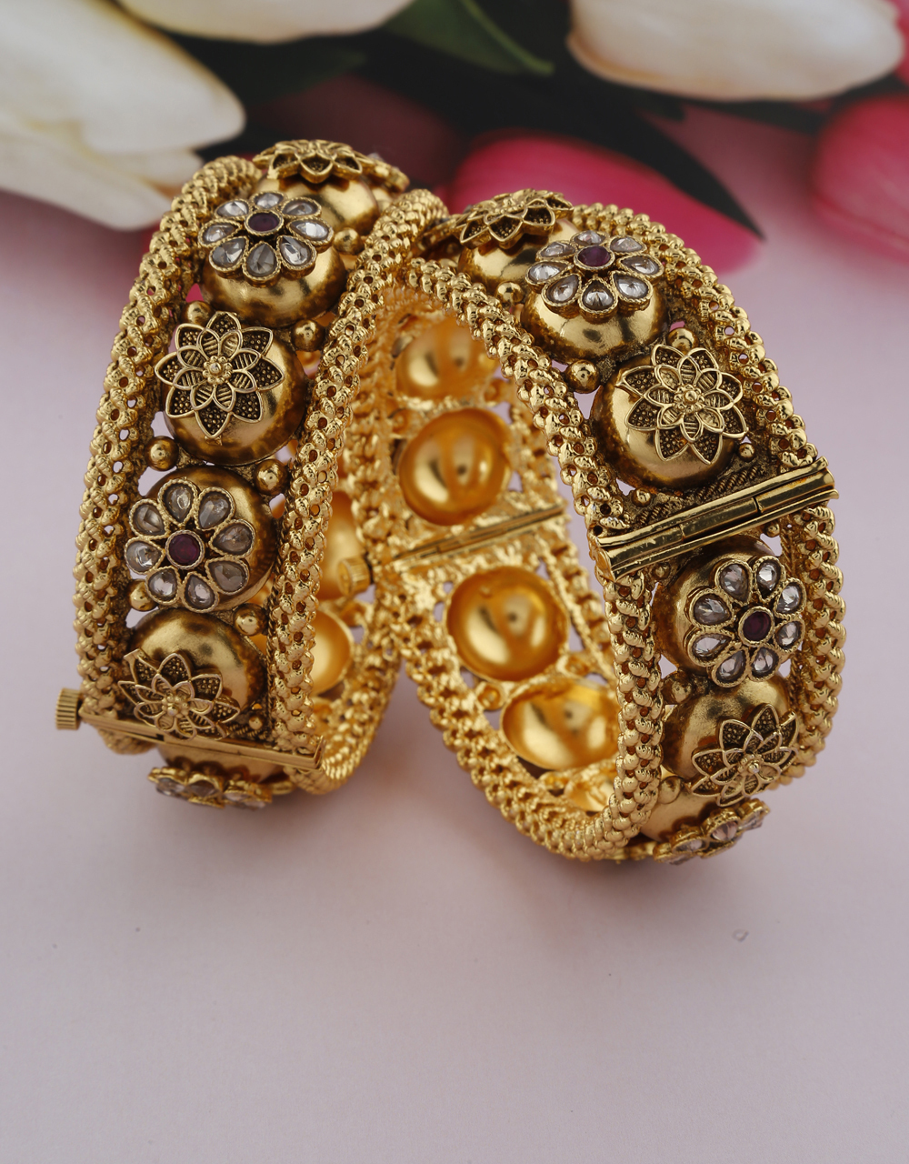 Matte Floral Design Decked With LCT Stone In Petal Design Bangles For Women