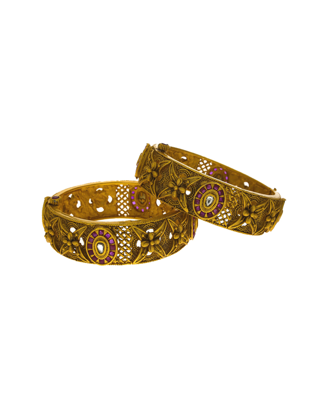 Round Shape Design Studded With Pink Colour Stone Bangles For Women