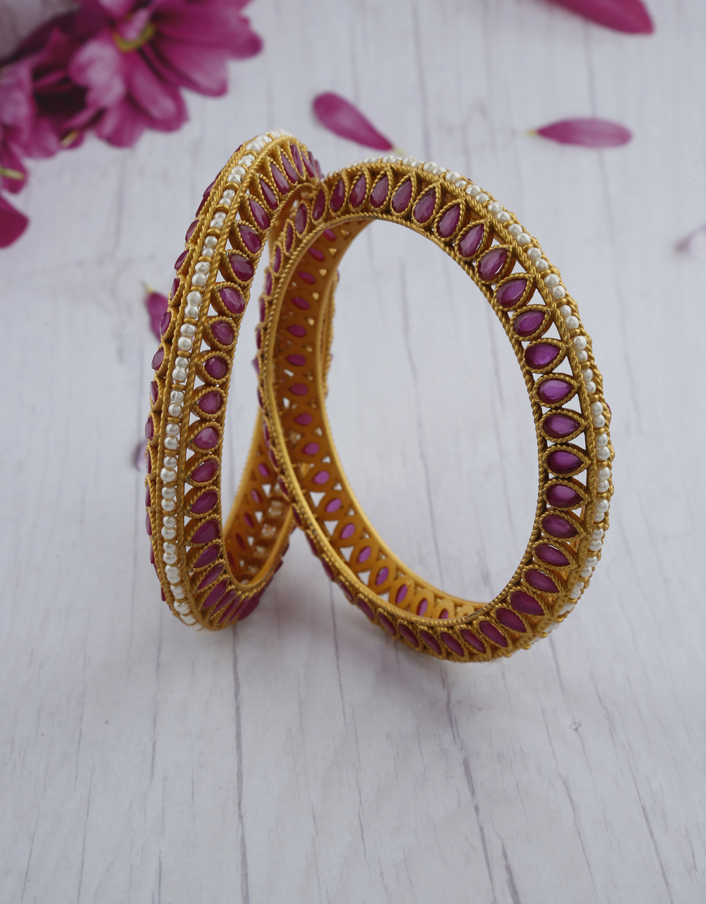 DROP SHAPE DESIGNER DECKED WITH DELICATE PEARL AND DECKED WITH PINK STONES BANGLES FOR WOMEN