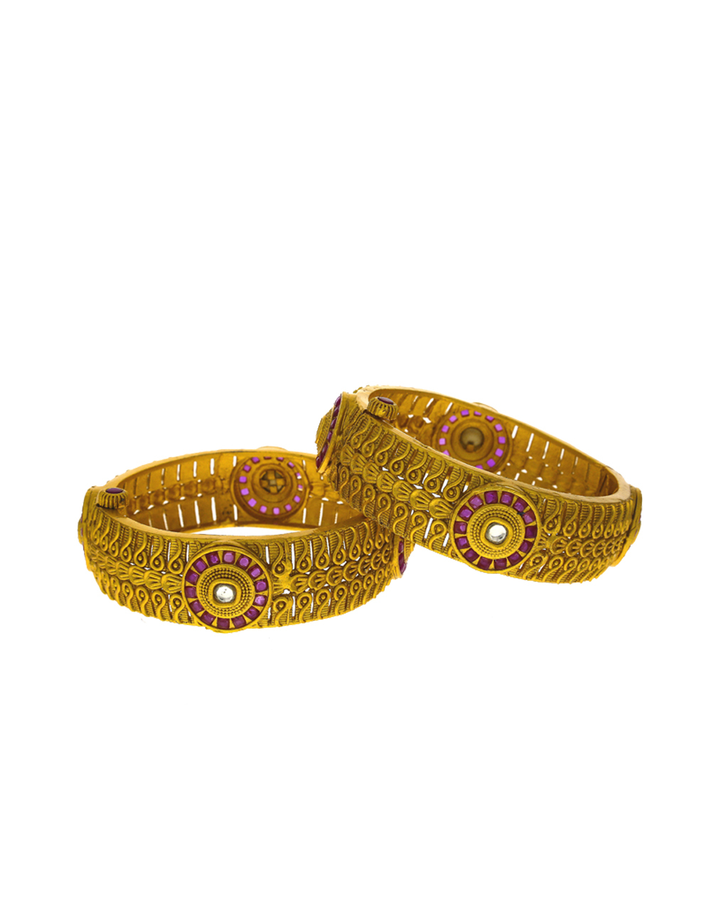 Classic Finish With Round Shape Designer Bangles Studded With Pink Stone Bangles For Women