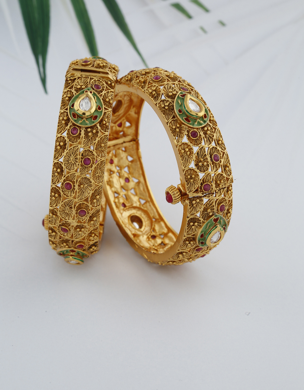 Fancy Designer With Drop Shape And Decked With Small Pink Stone Bangles For Women