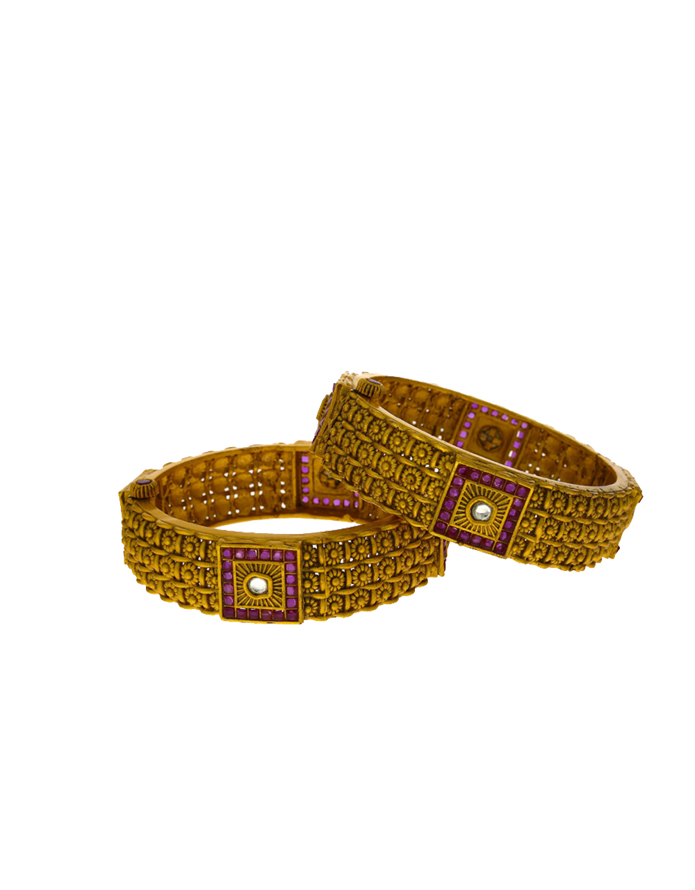Geometric Designer Bangles Decorated With Pink Colour Stones For Women