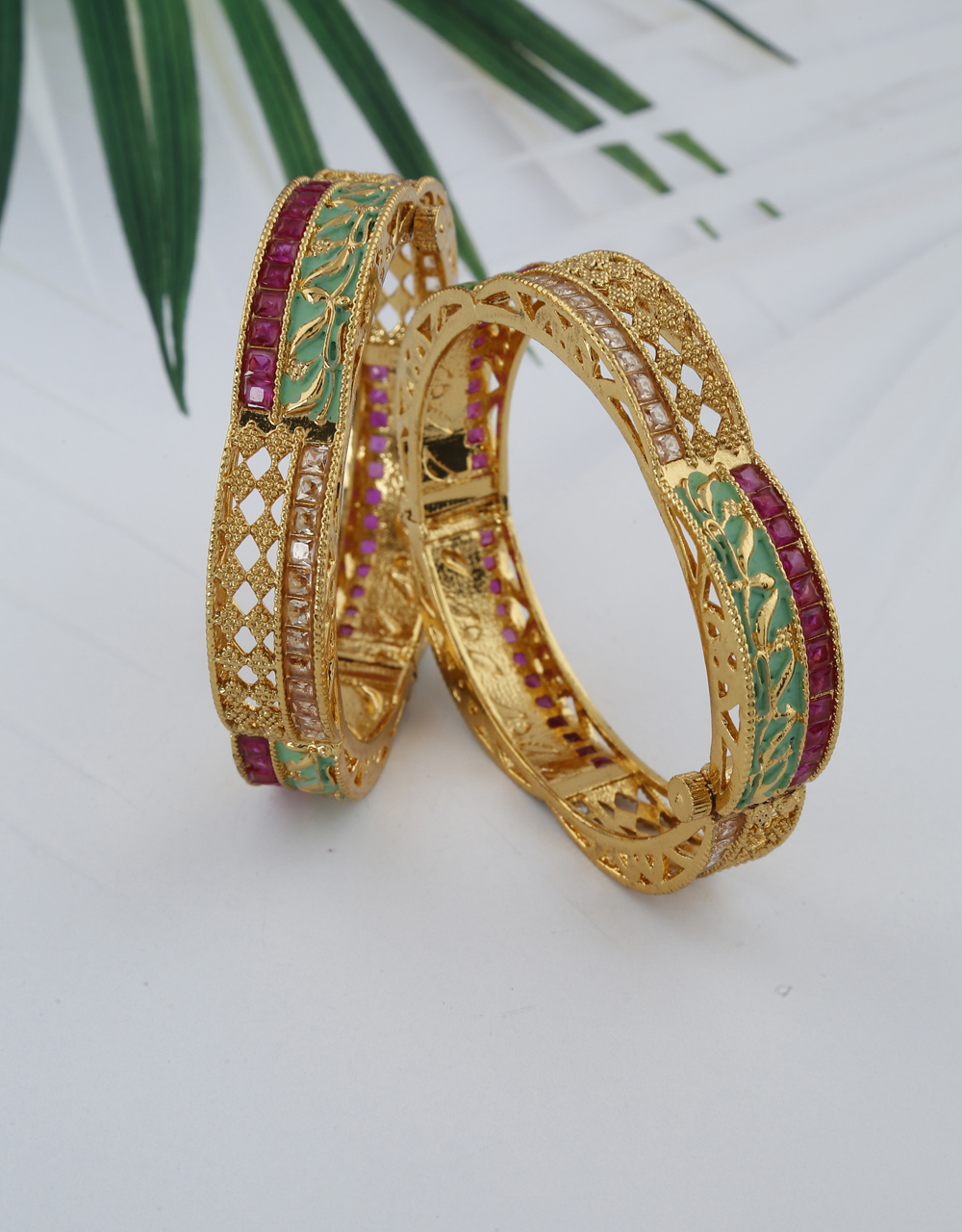 Latest Stylish Designer Bangles Decorated With Green Colour And Decked With Pink Stones For Women
