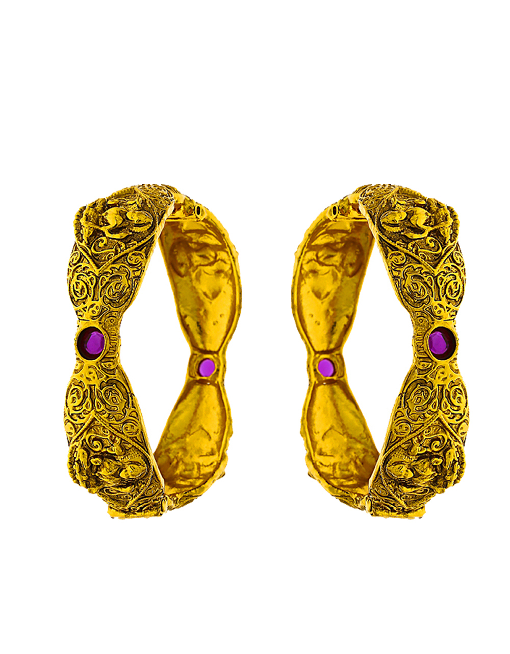 Ethnic Designer With Matte Gold Finish Decked With Small Pink Stone In Centre Of Design For Women