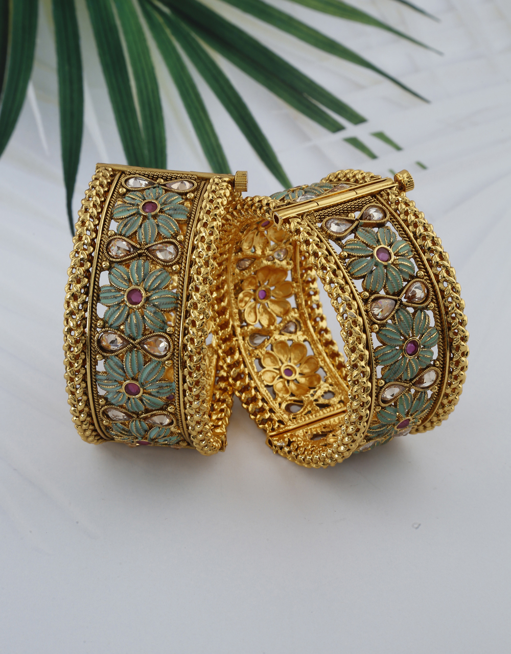 Floral Designer Decorated With Green Colour In The Petal Of Design And Studded With Pink Stone Bangles For Women