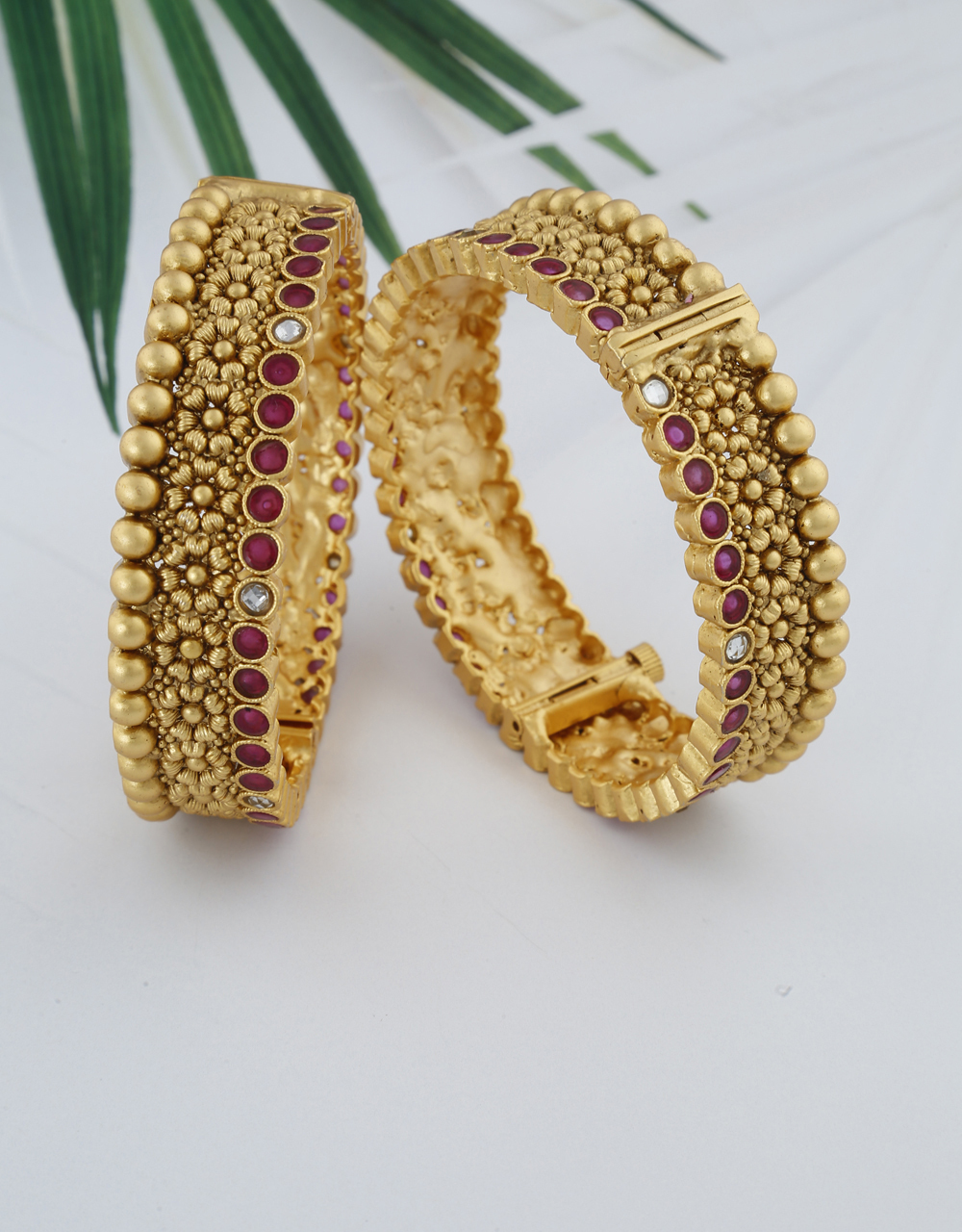 Matte Floral Design And Decorated With Small Pink Stone Bangles For Women