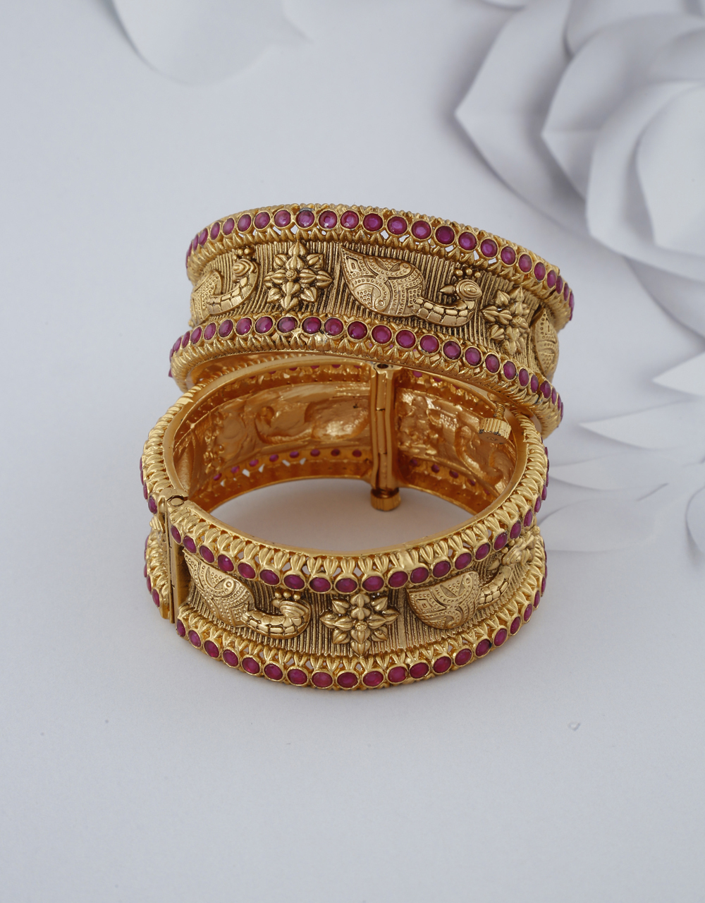 Peacock Designer Decked With Small Pink Colour Stone Bangles For Women