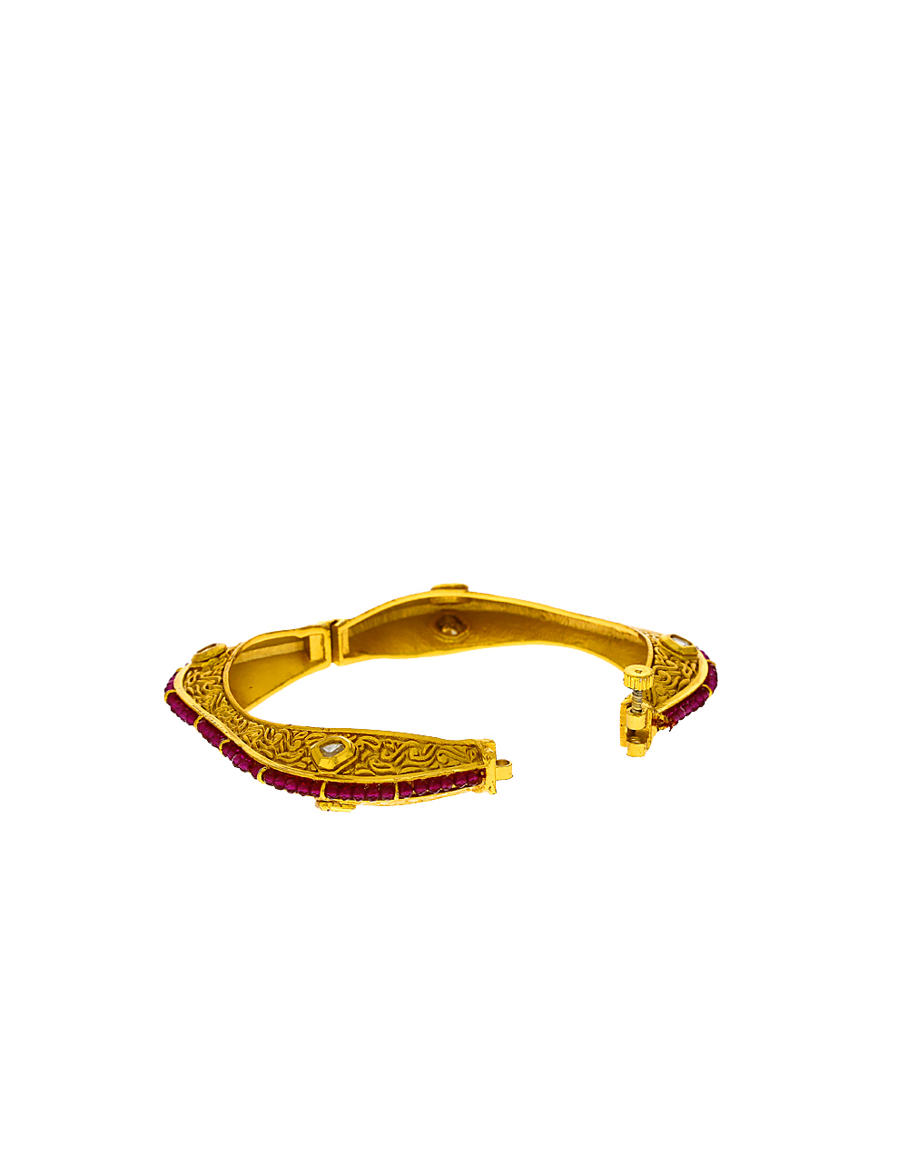 Fashionable Design Decorated With Kundan And Pink Beads Decked Bangles For Women