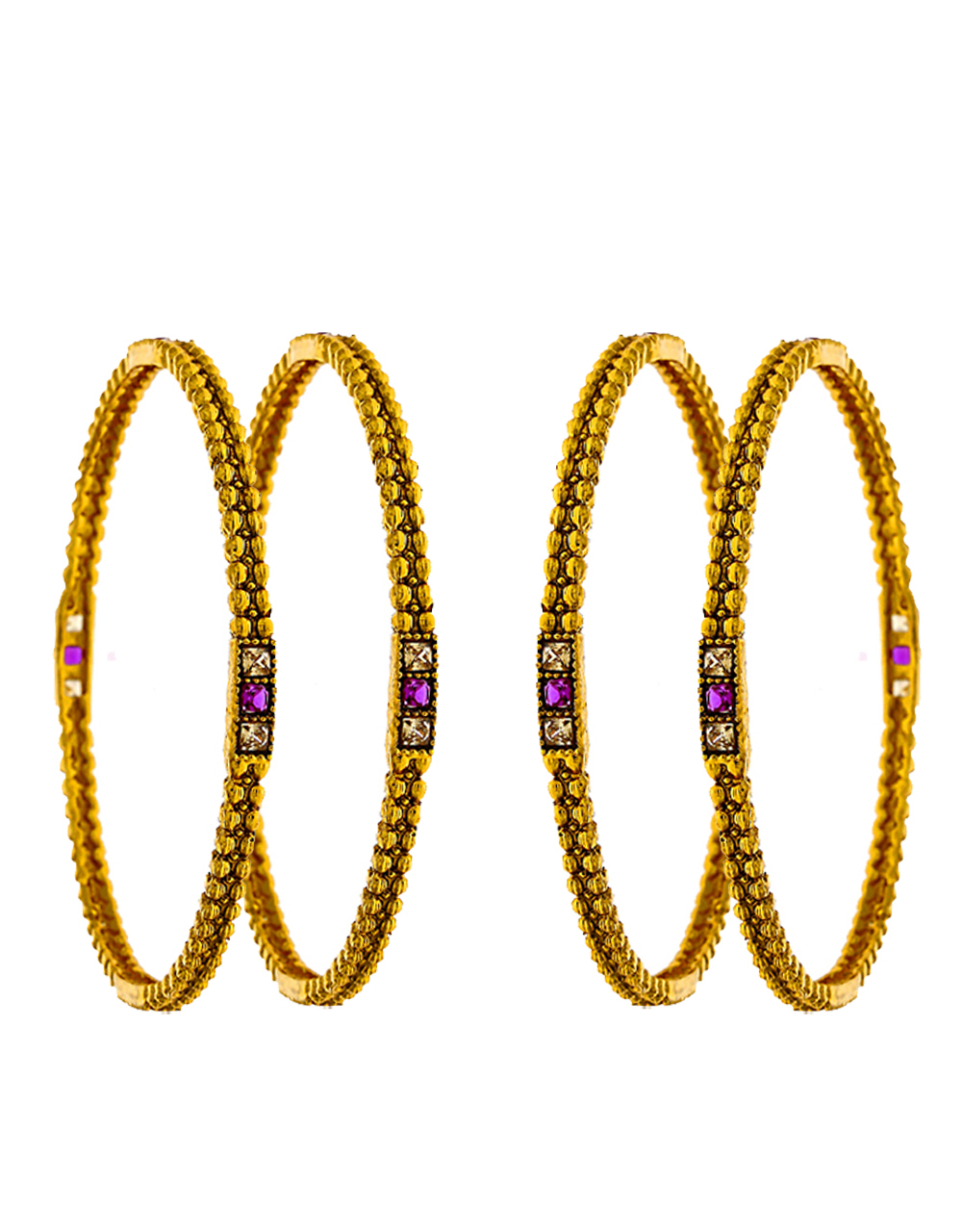 Slim Golden Bangles Studded With Pink LCT Stone For Women