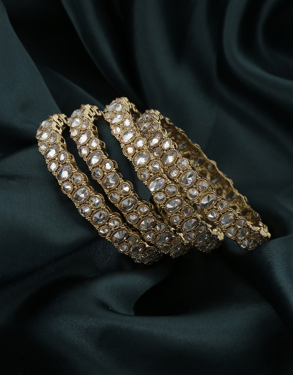 Shining Bangle Studded With LCT Stone Completely Decorated For Women