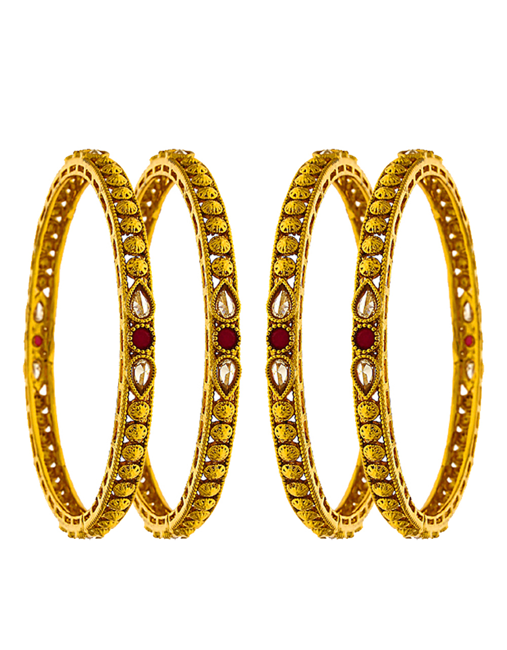 Classy Designer With A Drop Shape Design And Decked With Red Stone In Centre Of Design For Women