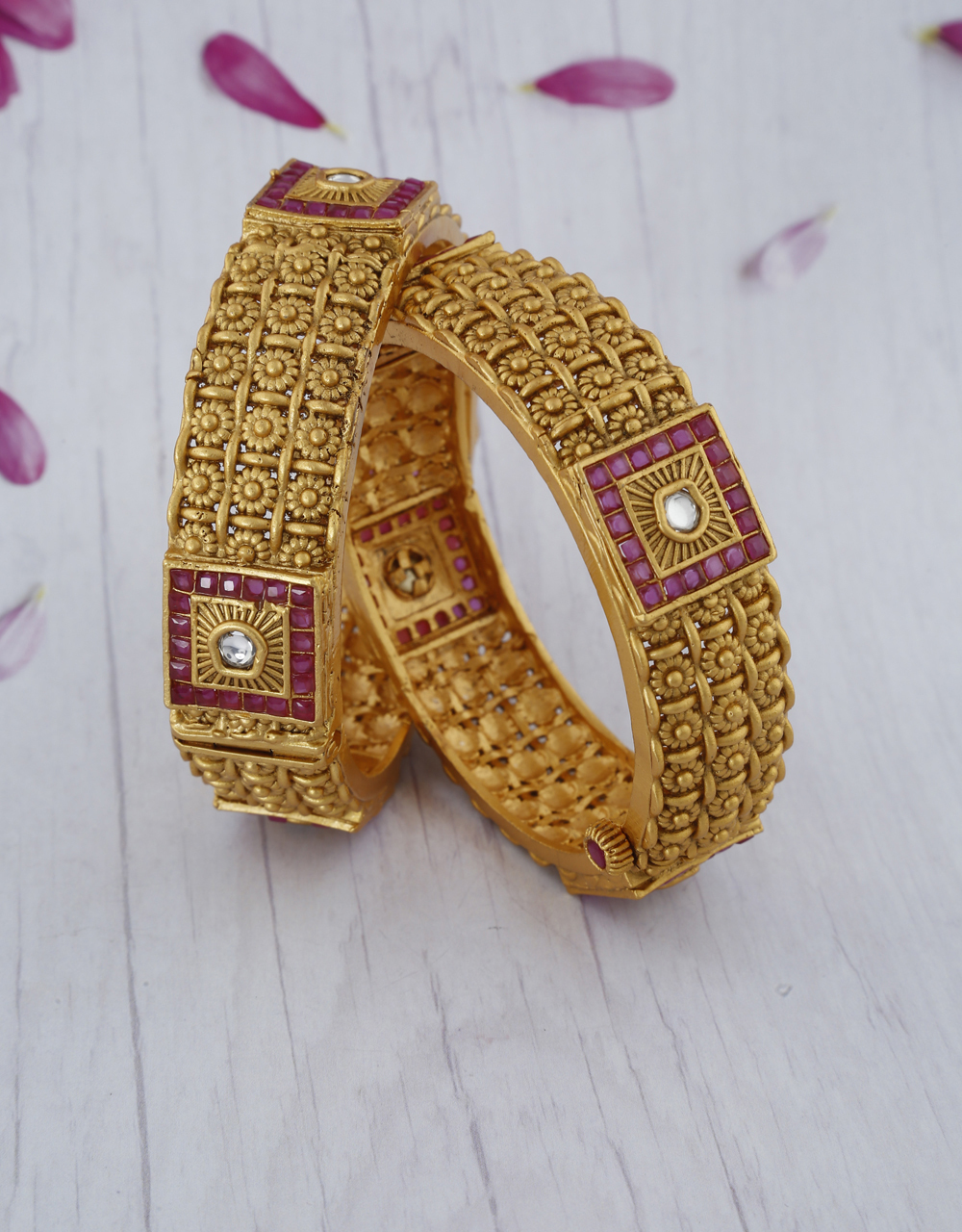Geometric Designer With Floral Design Crafted On Bangles With Gold Finish For Women