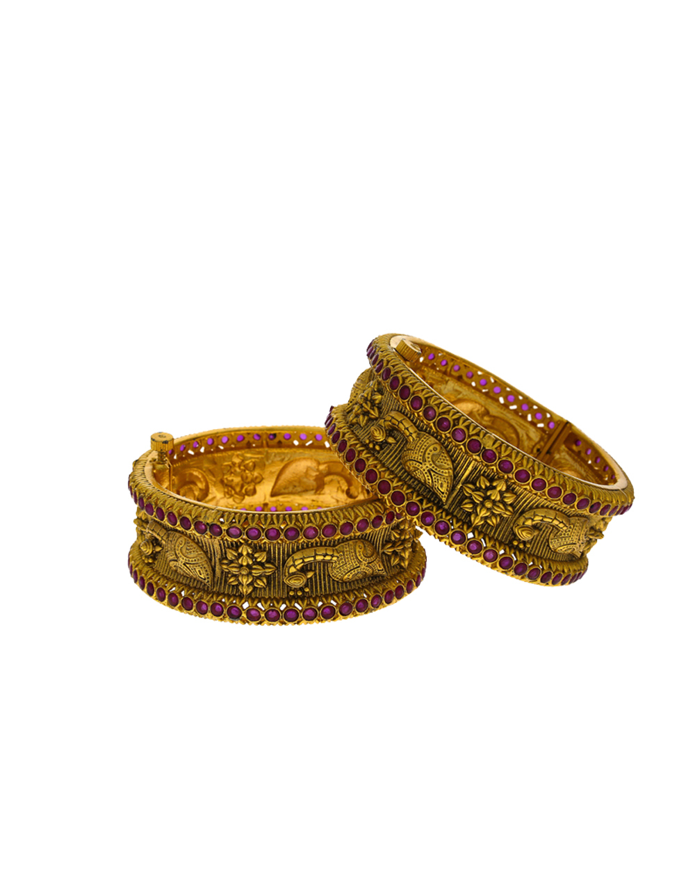 Peacock Design With Matte Gold Floral Finish Bangles For Women