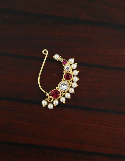 Adorable Golden Finish Pink Colour Maharashtrian Nath.