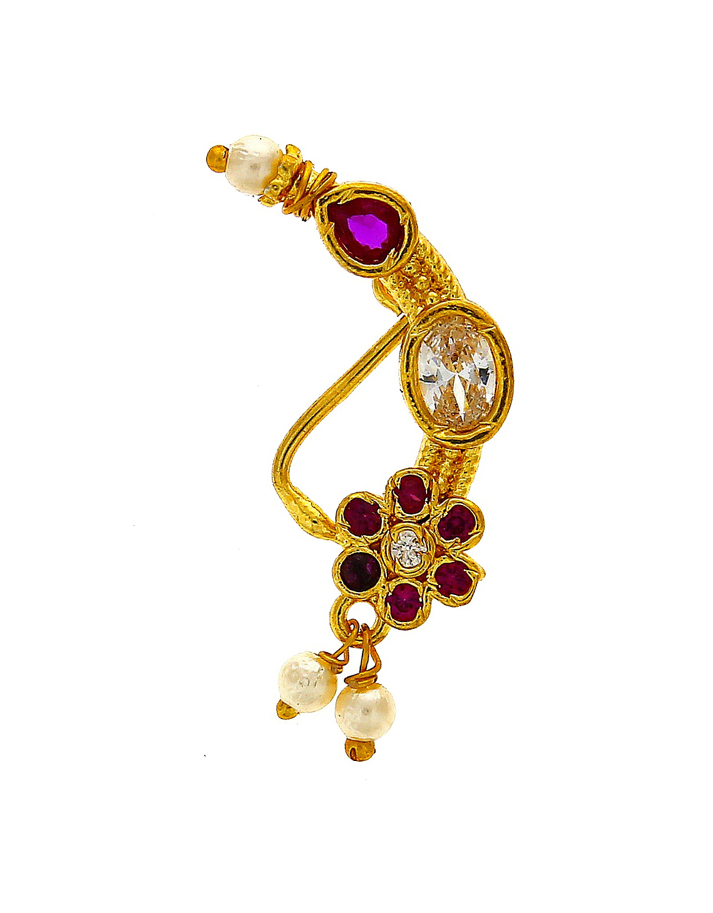 Unique Floral Designed Embedded With Sparkling Stone Maharashtrian Nath.