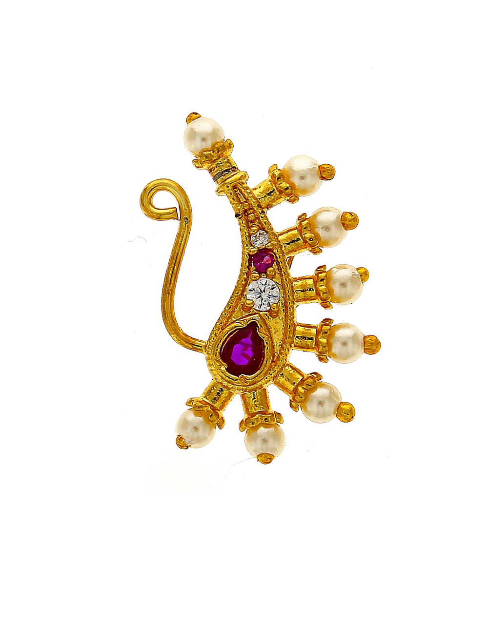 Very Classy Golden Finish Encrusted With Pink and White Stone Maharashtrian Nath.