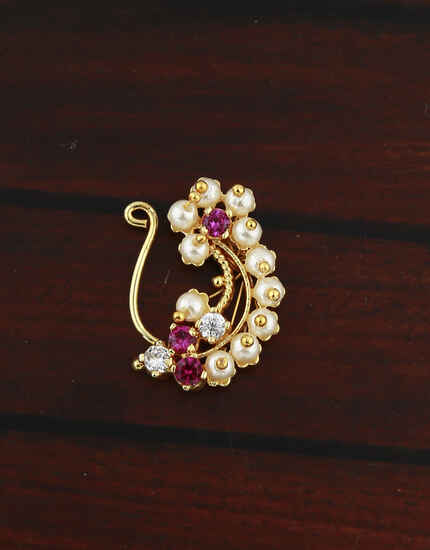 Exclusive Pearl and Stone Studded Maharashtrian Nath For Women.