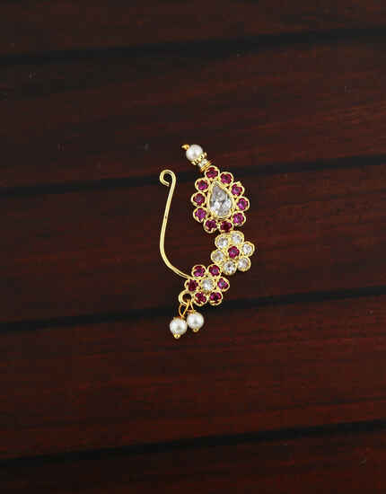Exclusive Encrusted with Pink And White Colour Stone Maharashtrian Nath For Women.
