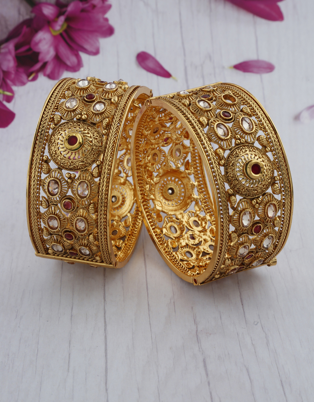 Fancy Maroon Colour Golden Finish LCT Stone Traditional Bangles.