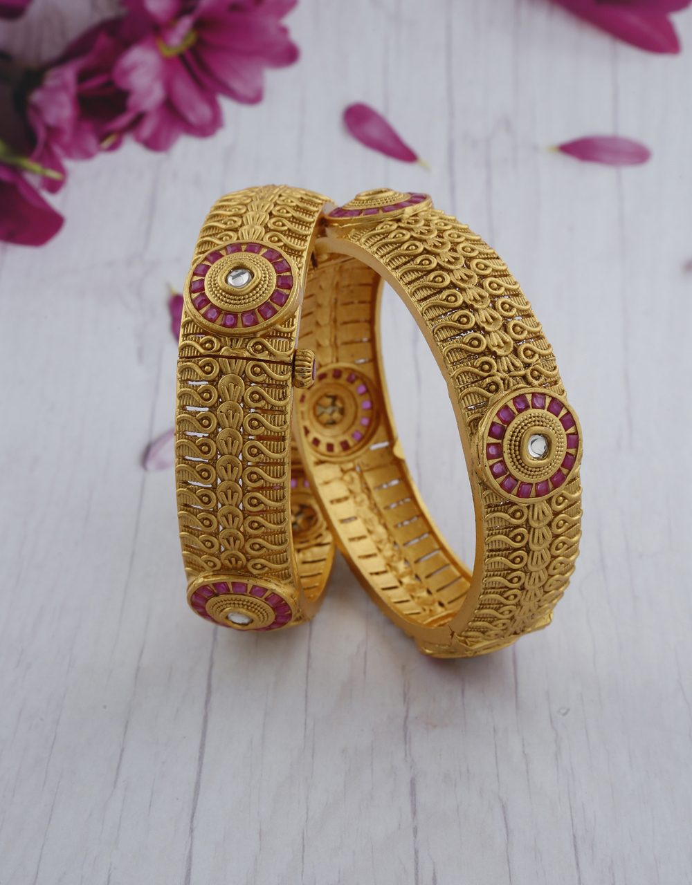 Exclusive Pink Colour Stone Studded Matte Gold Finish Traditional Bangles For Women.