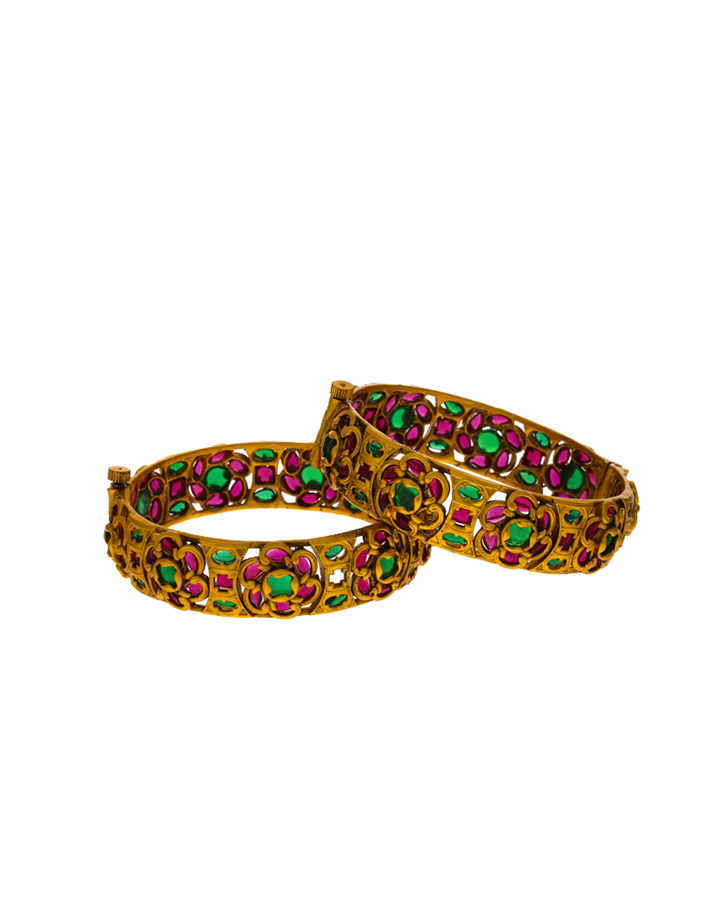 Fancy floral design decorated with colourful LCT stone bangles for women