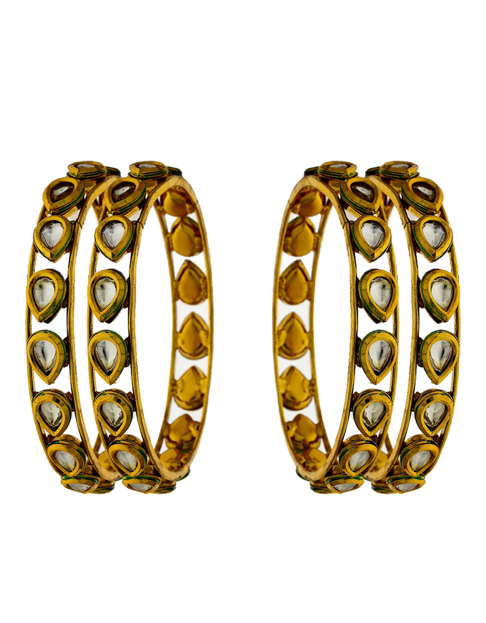 Drop shape designer bangles studded with kundan and green colour finish for women