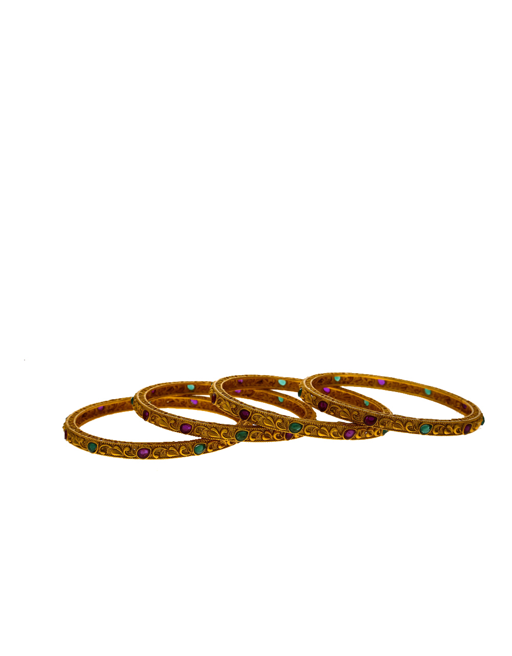 Gold finish studded with multi-colour stone bangles for women