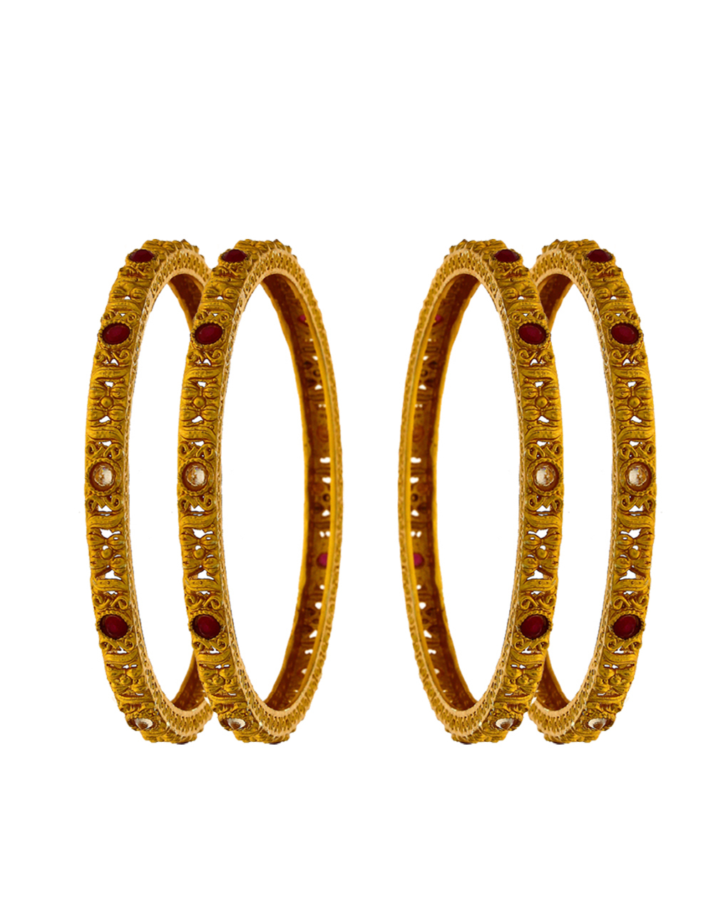 Classy designer bangles decked in a round shape red colour stone for women