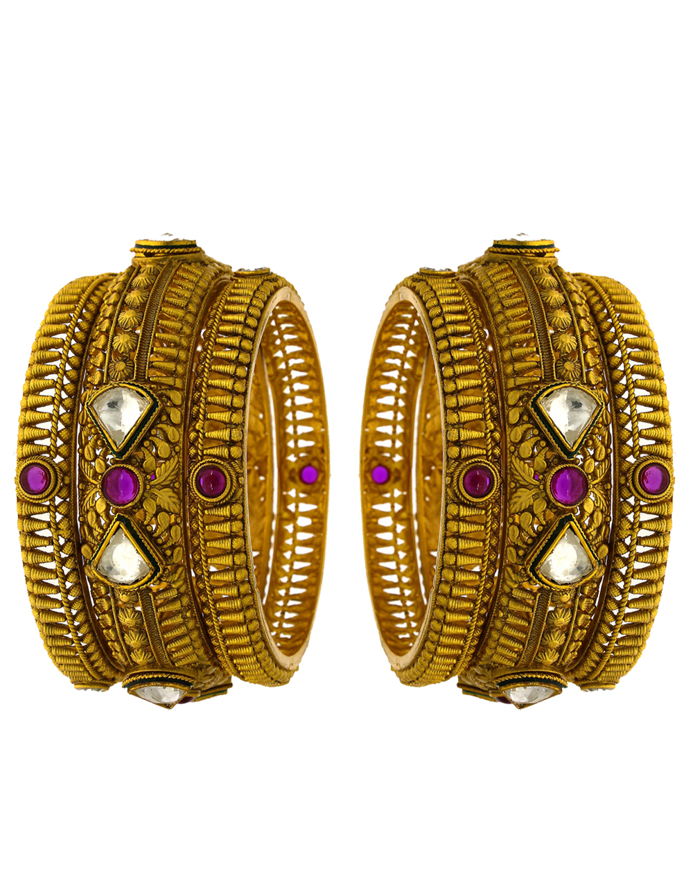 Traditional designer bangle studded with LCT and pink stone for women