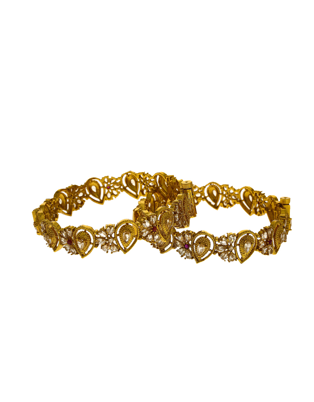 Drop shape and floral designer bangle studded with LCt stone for women