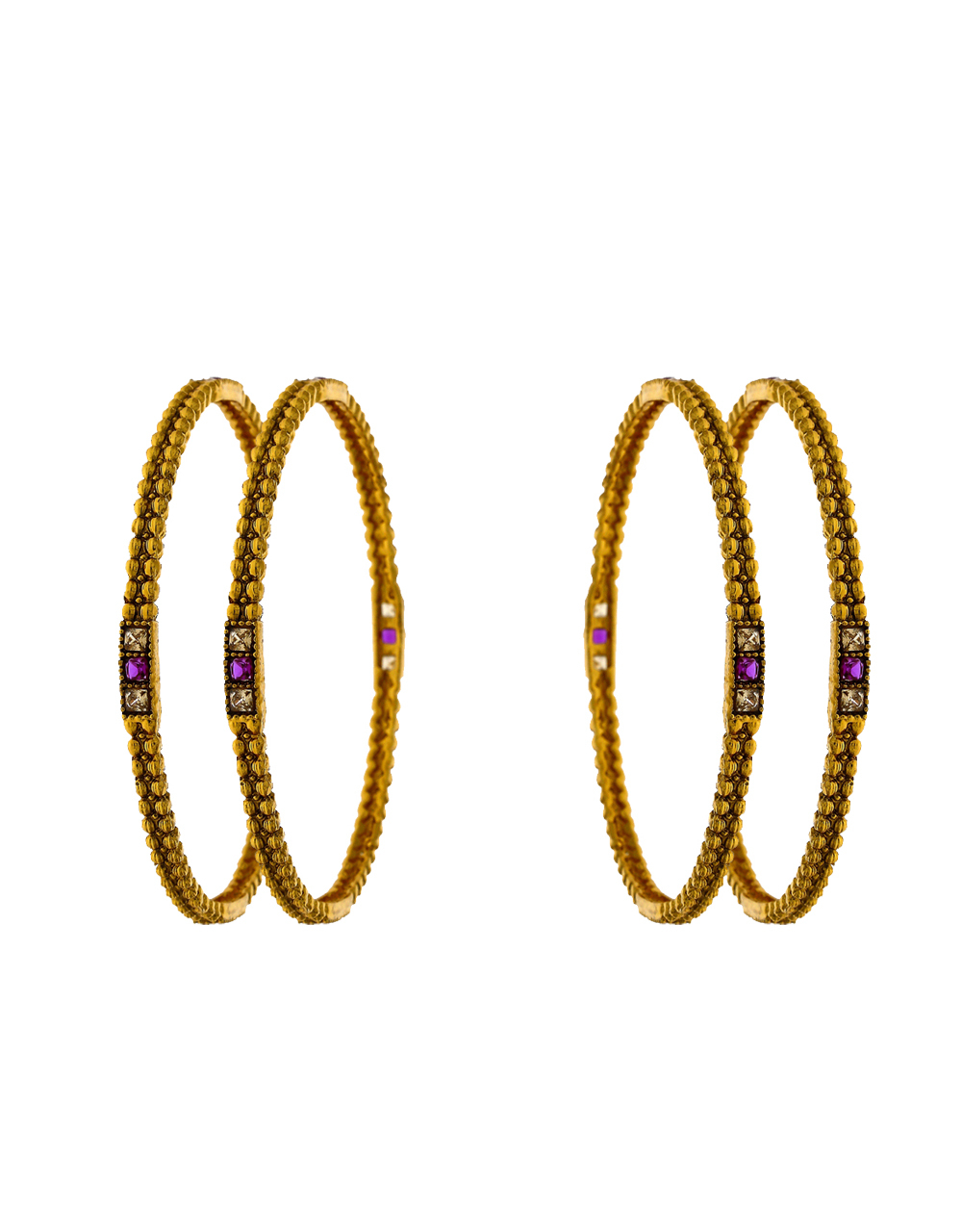Pair of for bangles with latest designer decked with pink stone for women