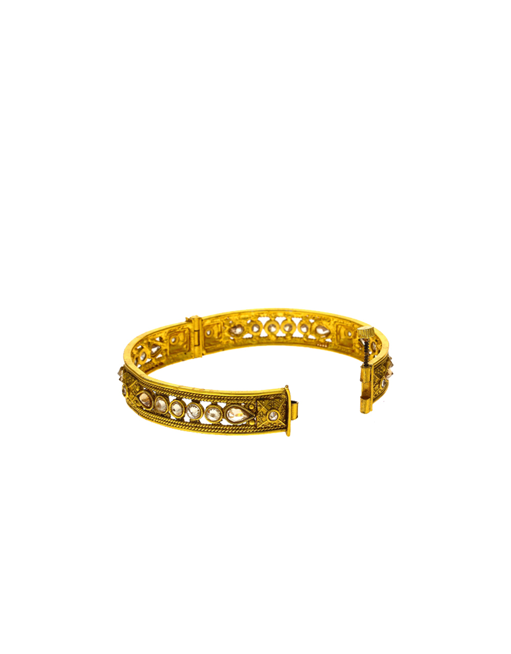 Fancy Green Colour Golden Finish Traditional Bangles For Women Online.