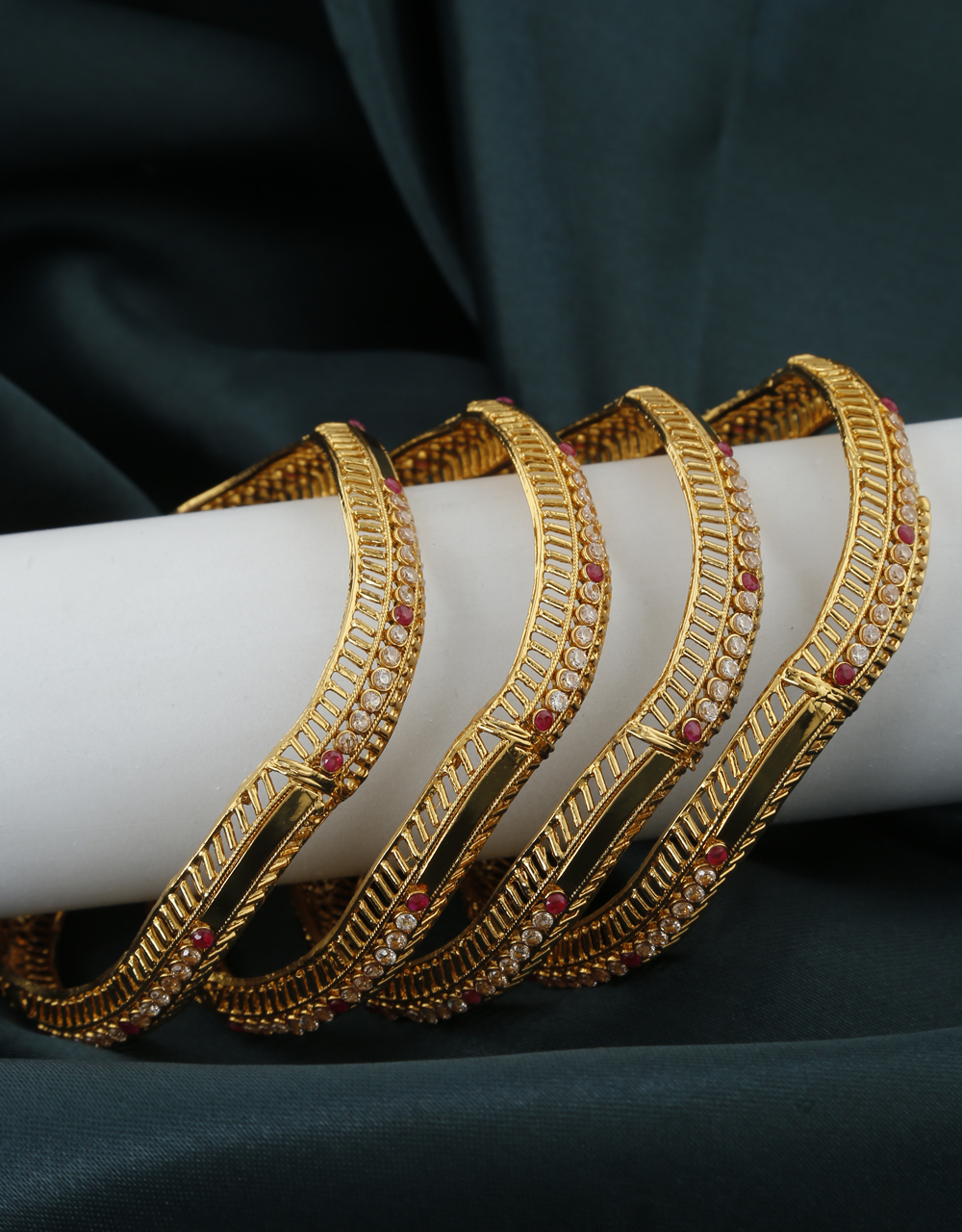 Adorable Golden Finish Embedded With White and Pink Colour Traditional Bangles.