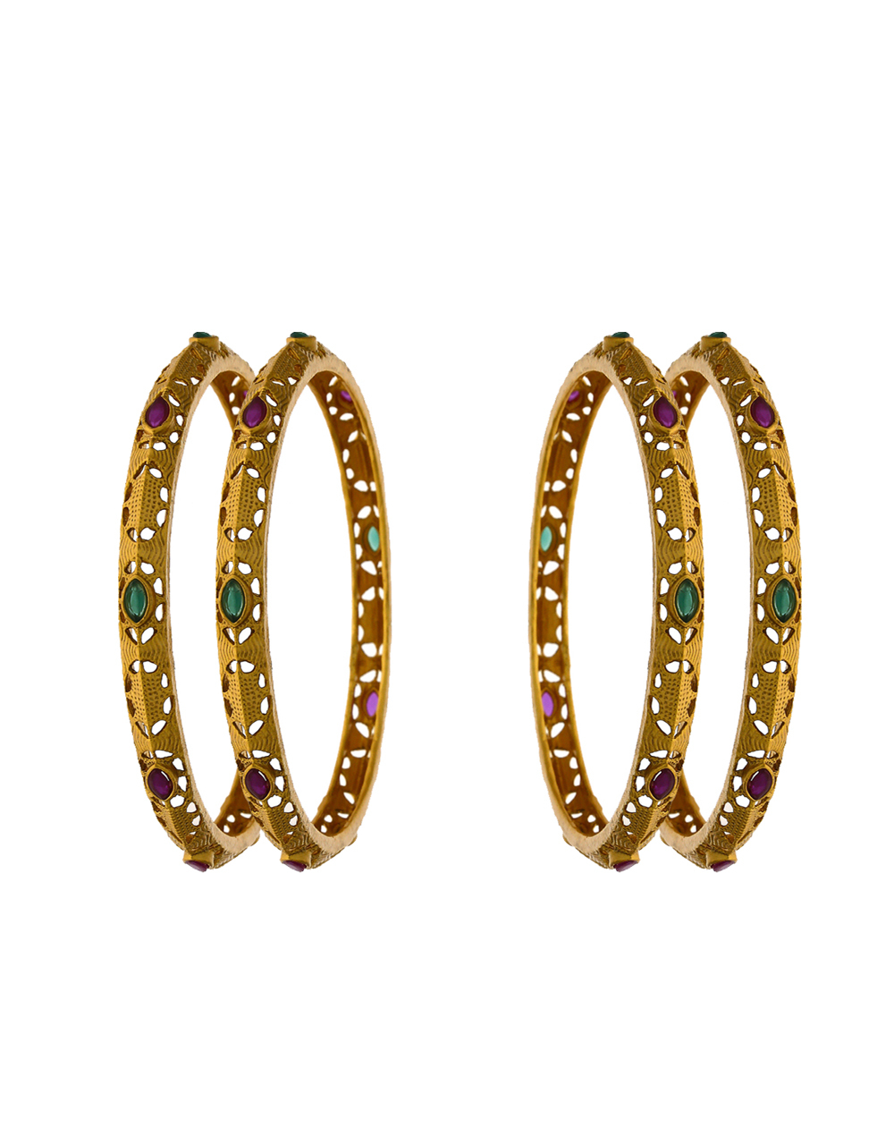 Simple and Sober Golden Finish Encrusted with Multi-colour Stone Traditional Bangles.