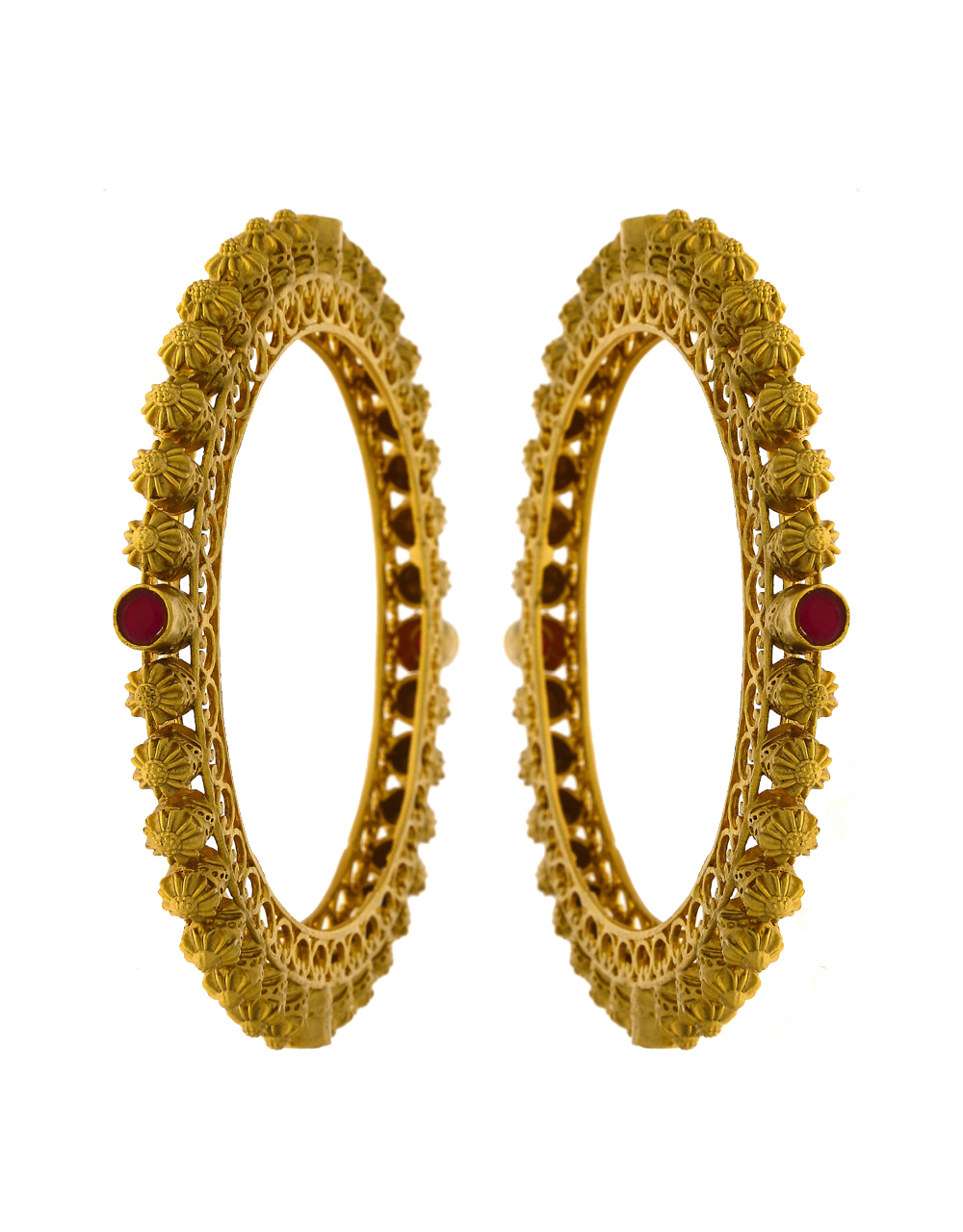 Maroon Colour Matte Gold Finish Traditional Bangles For Women Stylish