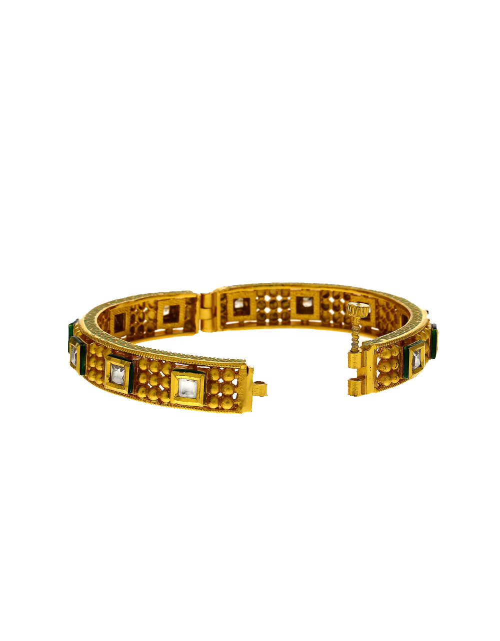 Stunning Golden Finish Embedded With Kundan Traditional Bangles For Women.