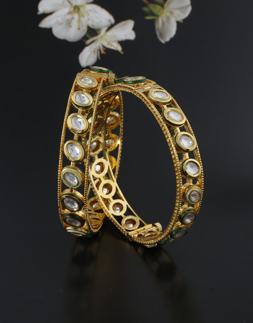 Exclusive Golden Finish Encrusted With Kundan Traditional Bangles Design.