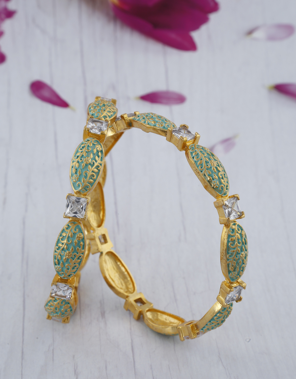Green Colour Matte Gold Finish Stone Studded Traditional Bangles Online.