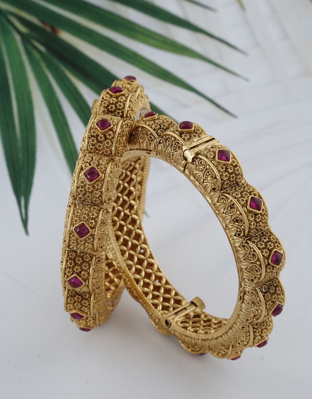 Unique Matte Gold Finish Studded with Purple Colour Stone Traditional Bangles.