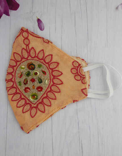 Designer Peach Colour Embroidery Work Fancy Facemask