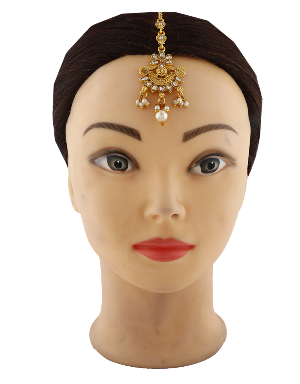 Classic Golden Stone Studded With Pearl Beads Stylish Mang Tikka For Women.