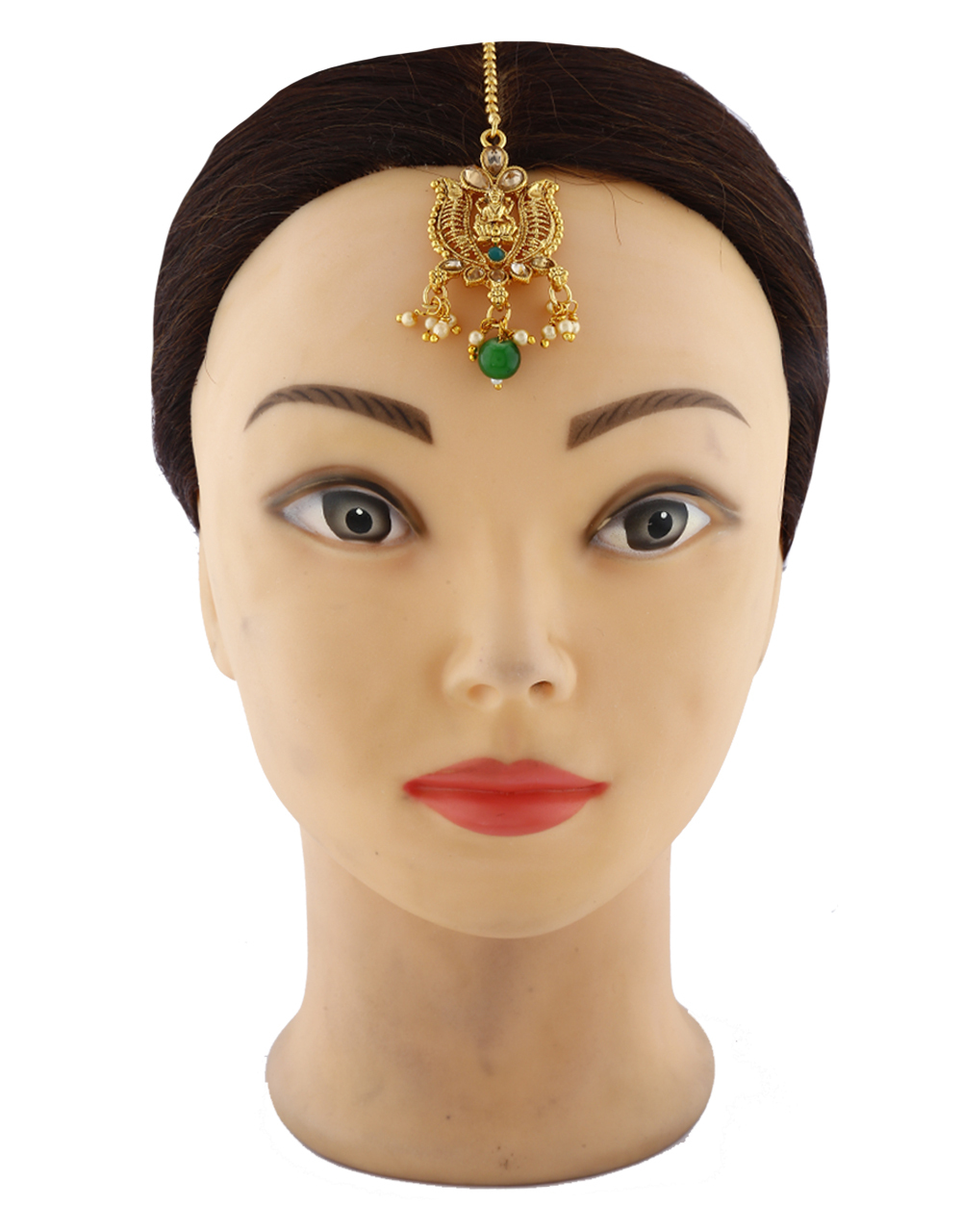 Classy Temple Design Green Colour Stone With Pearls Beads Mang Tikka For Women.